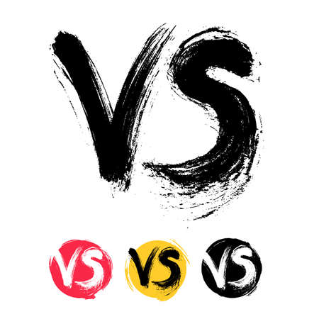 Symbol competition VS set. Versus text brush painting letters. Freehand drawing. Vector illustration. Isolated on white background