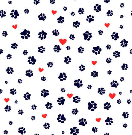 Seamless pattern dog paw and cat paw heart love puppy foot print kitten valentines day. Template for your design. Vector illustration. Isolated on white background