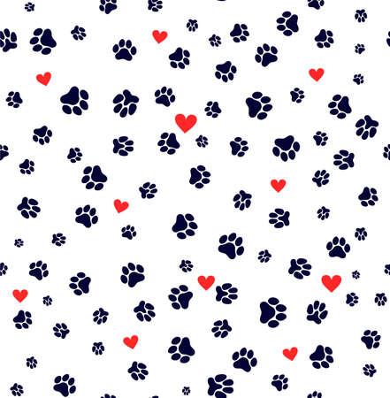 O teste padrão sem emenda pata do cão e o coração da pata do gato amam o pé do filhote de cachorro imprimem o dia de Valentim do gatinho. Modelo para seu projeto. Ilustração vetorial Isolado no fundo branco