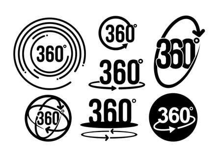 Set of 360 degrees view related graphic element that can be used as a logo or icon for your design. Vector illustration. Modern style with circle lines. Isolated on white background Illustration