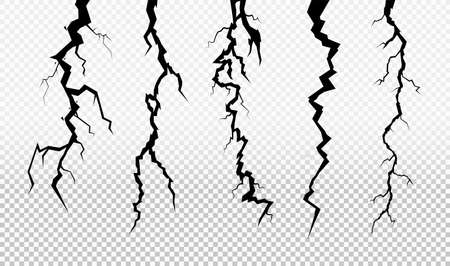 Set of crack in surface. Rift in earth. Flat for instant color change. Realistic fracture in wall. Vector illustration. Isolated on transparent background