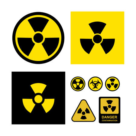 Set of radioactive contamination symbol. Danger contamination collection. Vector illustration. Isolated on white background Illustration