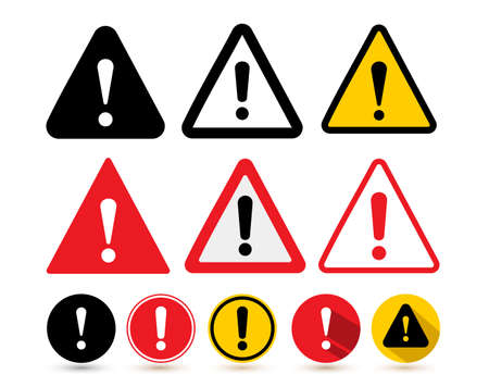 Set of the attention icon. Danger symbol flat design. Attention sign with exclamation mark icon. Risk sign red black and yellow. Vector illustration. Isolated on white background