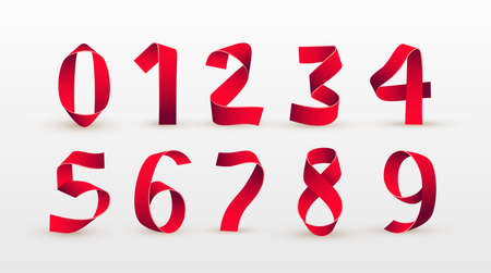 Paper folding numbers. Red ribbon script font. Modern stylized paper font. Alphabet letters. 3d number.