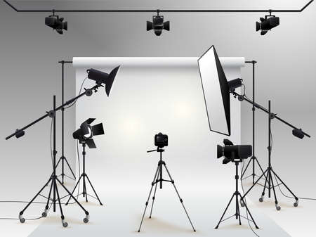 Photography studio vector. Photo studio white blank background with soft box light, camera, tripod and backdrop. Çizim