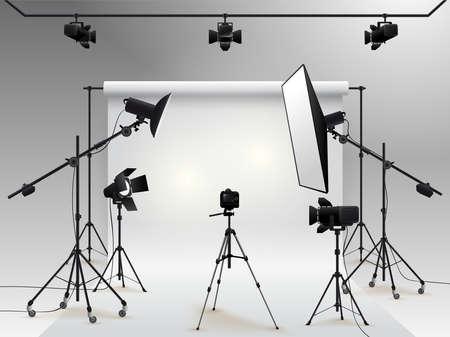 Vector de estudio de fotografía. Foto estudio fondo blanco en blanco con luz de caja suave, cámara, trípode y telón de fondo.