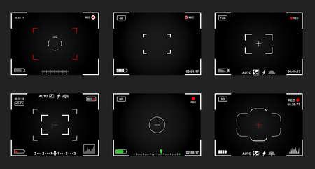 Set of black and white slr digital camera viewfinder.