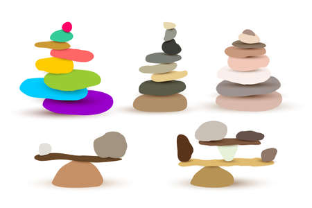 Set of harmony and balance, colorful stone cairn pebbles. Vector illustration. Isolated on white background