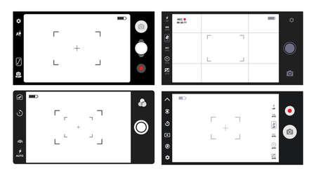 Set of smartphone camera viewfinder. Illustration