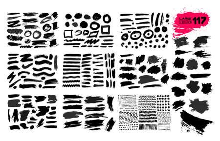 Grande collection de peinture noire, coups de pinceau d'encre, pinceaux, lignes, grungy. Éléments de conception artistique sale, boîtes, cadres. Illustration vectorielle. Isolé sur fond blanc. Dessin à main levée