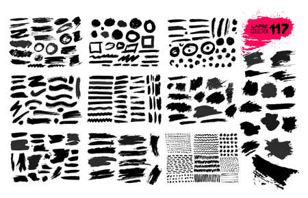 Big collection of black paint, ink brush strokes, brushes, lines, grungy. Dirty artistic design elements, boxes, frames. Vector illustration. Isolated on white background. Freehand drawing