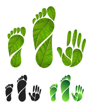 Set of green carbon foot print concept. Silhouette of feet and hands of leaves. Vector illustration. Isolated on white background Vectores