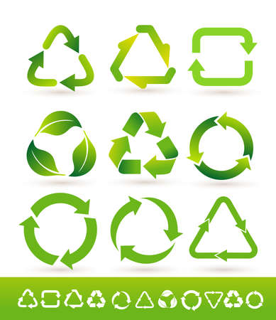 Set of Recycled cycle arrows icon. Recycled eco icon. Vector illustration. Isolated on white background