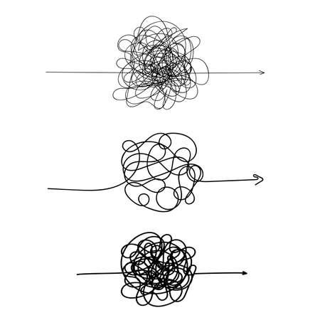 Set di simbolo di modo complicato con elemento tondo scarabocchiato, segno di caos, passare la freccia lineare via con bugna o groviglio palla al centro. Illustrazione vettoriale Isolato su sfondo bianco Vettoriali