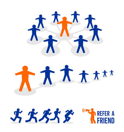 Set of Refer a friend icon in flat linear style. Great infographic element. Referral Concept. Vector illustration. Isolated on white background Ilustração