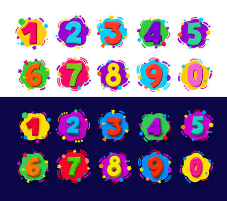 Set of Colored cartoon numbers. Vector illustration color figures 1-9 digit baby icons in the cloud. Isolated on white and blue background