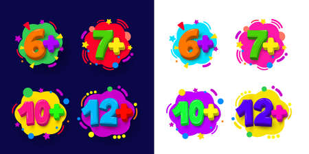 Set of kids age restrictions. Cartoon figures color vector illustration. Isolated on white and blue background