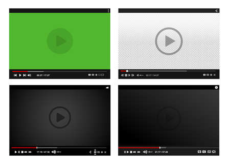 Set of modern video players. Flat design template for web and mobile apps. All elements are conveniently grouped. Vector illustration. Isolated on white background