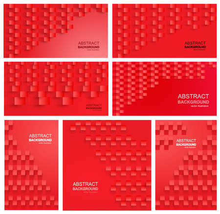 Set of Red abstract texture background. 3d paper art style can be used in cover design, poster, flyer, book design or advertising. Horizontal, vertical vector. Isolated on white background Иллюстрация