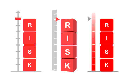 Set of Risk assessment concept. Symbolizing with scale and cubes showing word risk in red. Vector illustration. Isolated on white background