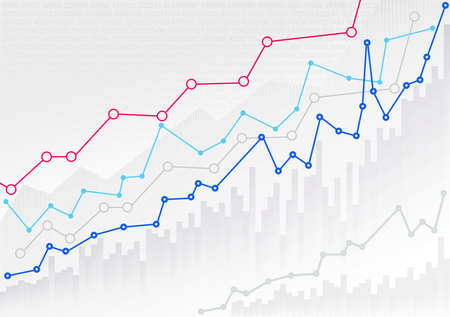 Abstract financial chart with trend line graph and numbers in stock market. Mockup template ready for your design. Vector illustration. Isolated on white background