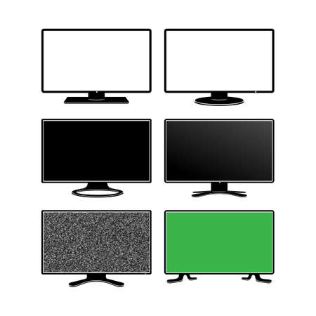 Set of television graphic icon. Monitor technology TV flat sign. Vector illustration. Isolated on white background Illustration