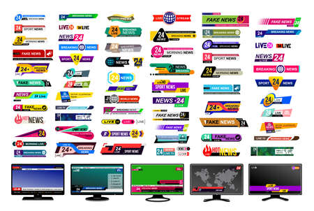 Set of TV news bars. Design News sign, streaming video. Breaking, fake, sport news. Interface sign. Mockup templates ready for your design. Vector illustration. Isolated on a gray background Ilustracja