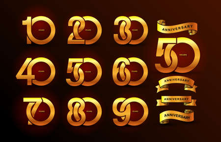 Insieme dell'icona dell'oro del pittogramma di anniversario. Design piatto.