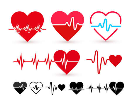 Set of Heartbeat icon, health monitor, health care. Flat design. Vector illustration. Isolated on white background Vectores