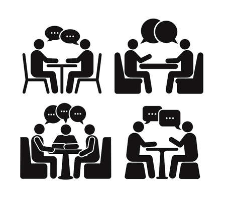 Set of two people at the table icon. Flat design. Vector illustration. Isolated on white background Stock Illustratie