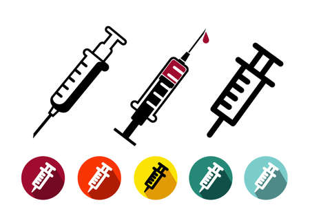 Set of vaccination icon in trendy thin line style, flat design.