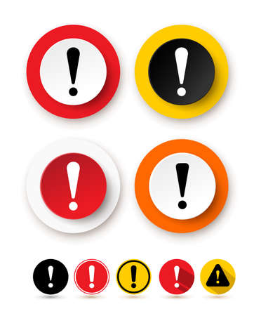 Set of exclamation mark icon. Hazard warning symbol. Attention sign icon. Vector illustration. Isolated on white background