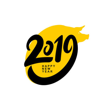 Happy New Year 2019. Card design with cartoon yellow pig face. Vector illustration. Isolated on white background