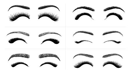 Set of Black False eyelashes and eyebrows. Woman beauty product. False lashes realistic. Hand drawn female eyelashes. Vector illustration. Isolated on white background