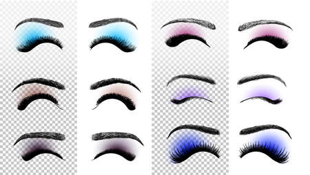 Set of colorful False eyelashes and eyebrows. Woman beauty product. False lashes realistic. Hand drawn female eyelashes. Vector illustration. Isolated on white background