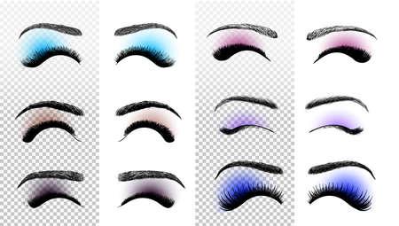 Set of colorful False eyelashes and eyebrows. Woman beauty product. False lashes realistic. Hand drawn female eyelashes. Vector illustration. Isolated on white background
