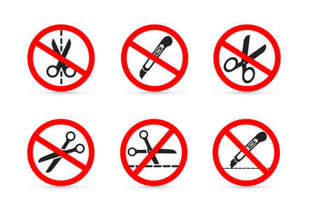 Set of Do not open with a knife or scissors. Vector illustration. Isolated on white background  イラスト・ベクター素材
