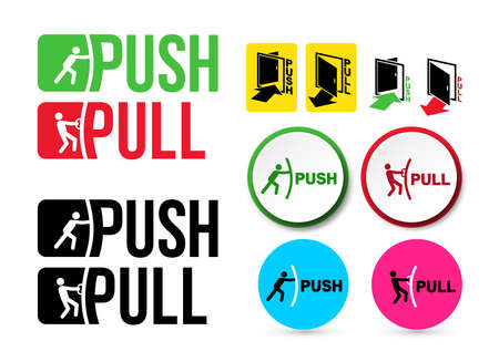 Set of Pull or Push door signs. Handle to open doors. Vector illustration. Isolated on white background Reklamní fotografie - 103427143