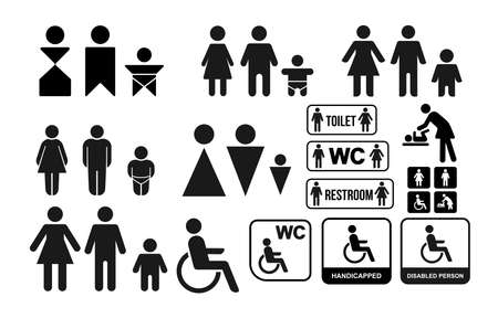 Set of WC sign for restroom. Toilet door plate icons. Men and women symbols. Vector illustration. Isolated on white background