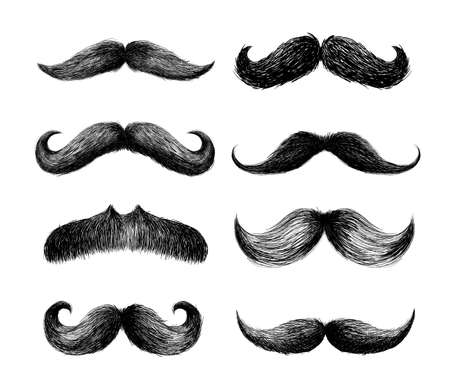 Set of moustaches. Hand drawn black mustache for barbershop or mustache carnival. Freehand drawing. Vector illustration. Isolated on white background Illustration