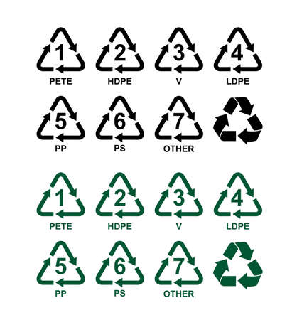 Set of recycling symbols for plastic. Green and black vector signs. Isolated on white background