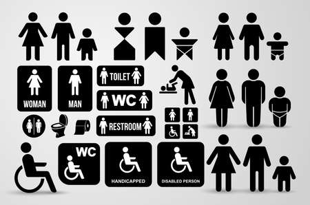 Set of WC black sign for restroom. Toilet door plate icons. Men and women symbols. Vector illustration. Isolated on white background
