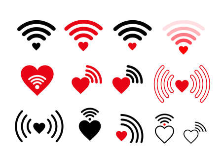 Set of wifi heart icon. Vector illustration. Isolated on white background