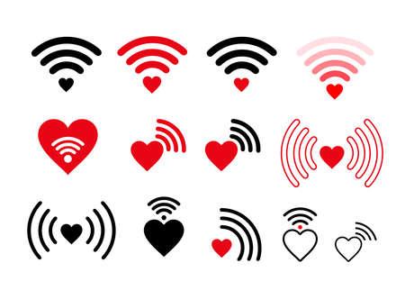 Set of wifi heart icon. Vector illustration. Isolated on white background Illustration