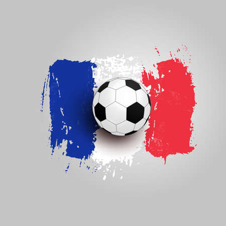 Realistic soccer ball on flag of France, made of brush strokes. Design element. Vector illustration. Isolated on white background