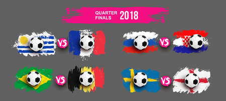 Set of Realistic soccer ball on flag of Uruguay vs France, Brazil, Belgium, Russia, Croatia, Sweden, England made of brush strokes. Design element. Vector illustration. Isolated on gray background