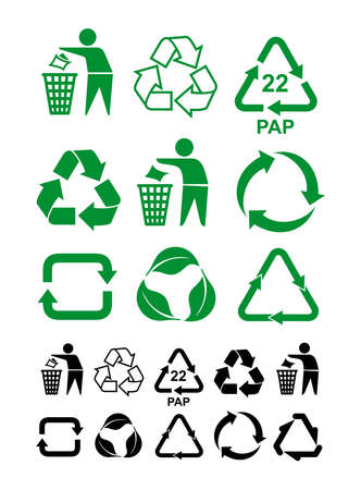 Set of universal recycling green and black symbol. International symbol used on packaging to remind dispose of it in a bin instead of littering. Vector illustration. Isolated on white background