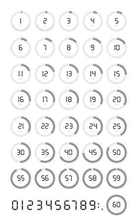 Set of Stopwatch icon the 5, 10, 15, 20, 25, 30, 35, 40, 45, 50, 55, 60 seconds, digital timer. Clock and watch, timer, countdown symbol. Vector illustration. Isolated on white background