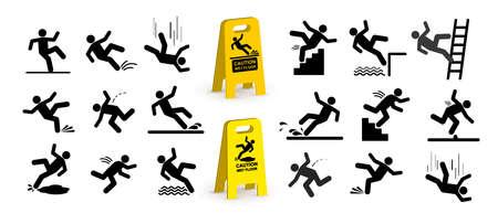 Conjunto de símbolos de precaución con figura de palo cayendo. Cayendo por las escaleras y por el borde. Piso mojado, tropezar con escaleras. Lugar de trabajo seguro. Ilustración de vector. Aislado sobre fondo blanco