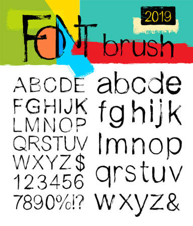 Painted ABC font vector brush strokes. Alphabet and numbers stains paint, spray and watercolor. Dirty artistic design elements, boxes, frames. Freehand drawing. Isolated on white background.